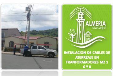 INSTALACION DE CABLES DE ATERRZAJE EN TRANFORMADORES MZ 1-6 Y 8