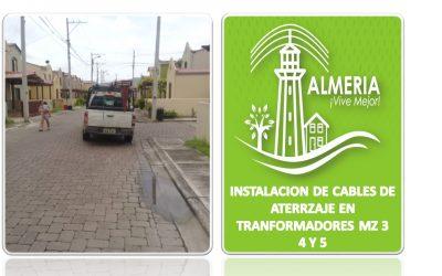 INSTALACION DE CABLES DE ATERRZAJE EN TRANFORMADORES MZ 3-4 Y 5